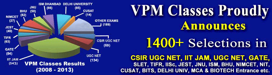 1100 + selection in csir ugc net, IIT JAM, UGC NET , GATE, SLET, TIFR, IISC, JEST, JNU, BHU by vpm classes kota rajasthan